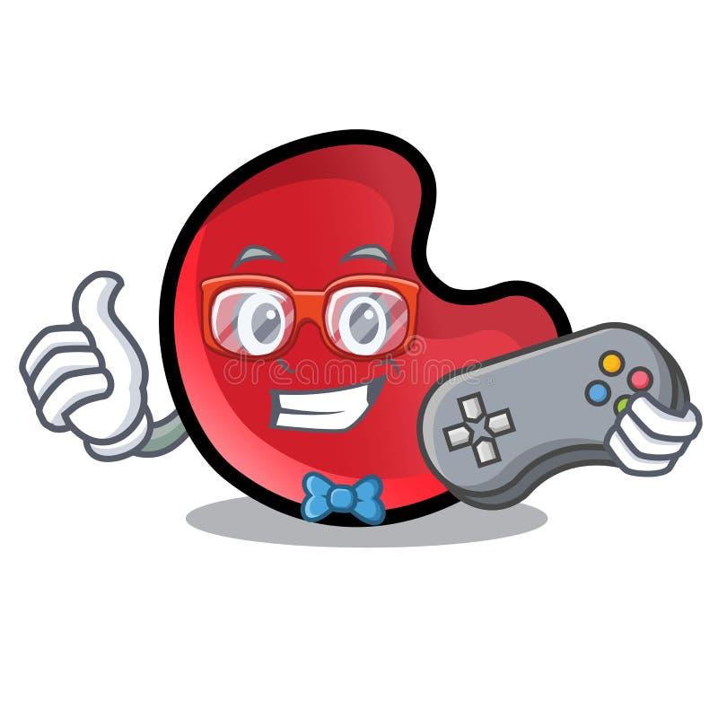 Desenhos animados da mascote da lua dos doces do Gamer ilustração stock