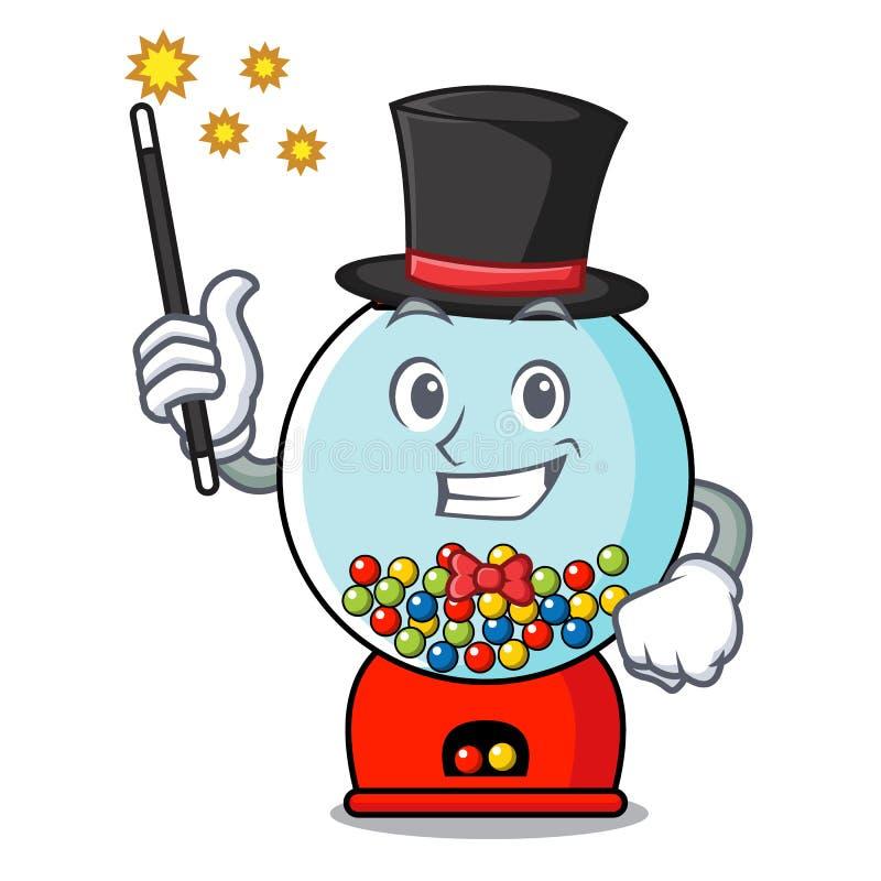 Desenhos animados da mascote da máquina do gumball do mágico ilustração stock