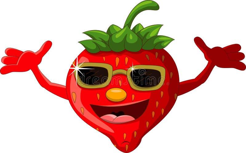 Desenhos animados da morango com eyeglasses ilustração stock