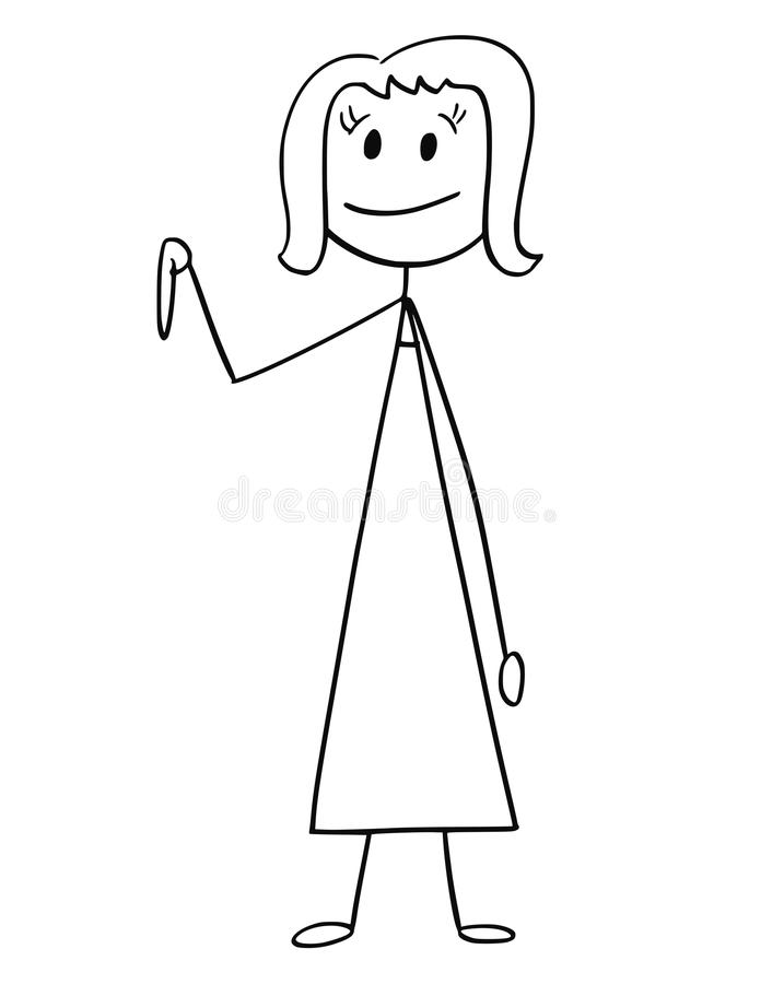Desenhos animados da mulher de negócios ou da mulher que apontam para baixo ilustração royalty free
