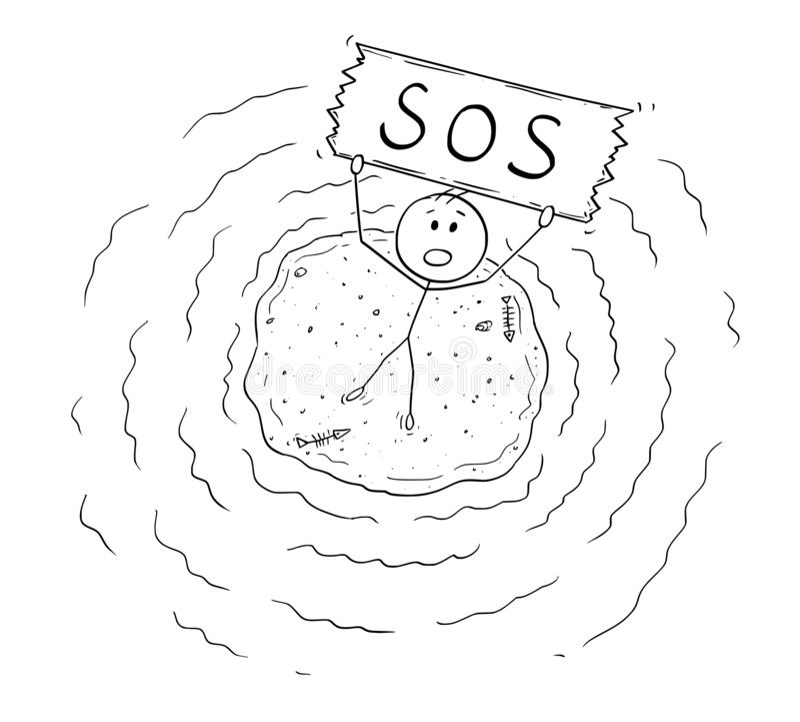 Desenhos animados da opinião aérea o homem do naufrágio na ilha pequena que guarda o sinal do SOS ilustração do vetor