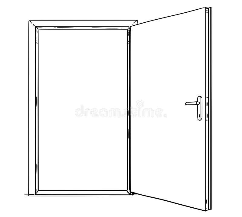 Desenhos animados da porta moderna aberta ilustração royalty free