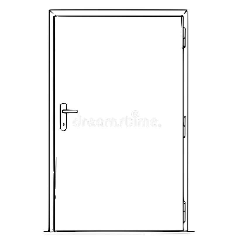 Desenhos animados da porta moderna fechado ilustração stock