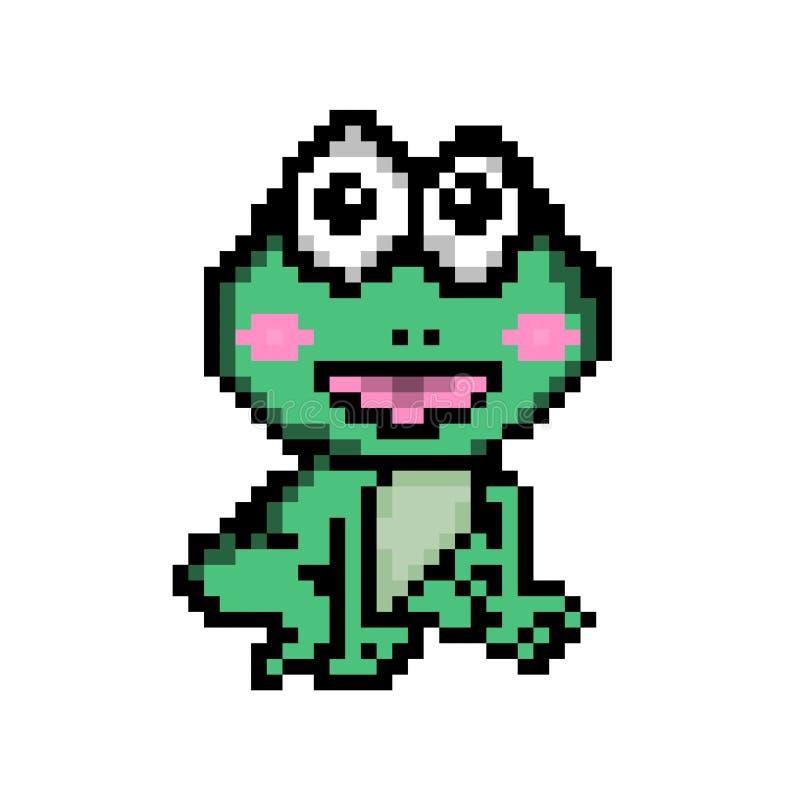 Desenhos animados da rã da arte do pixel do vetor ilustração stock