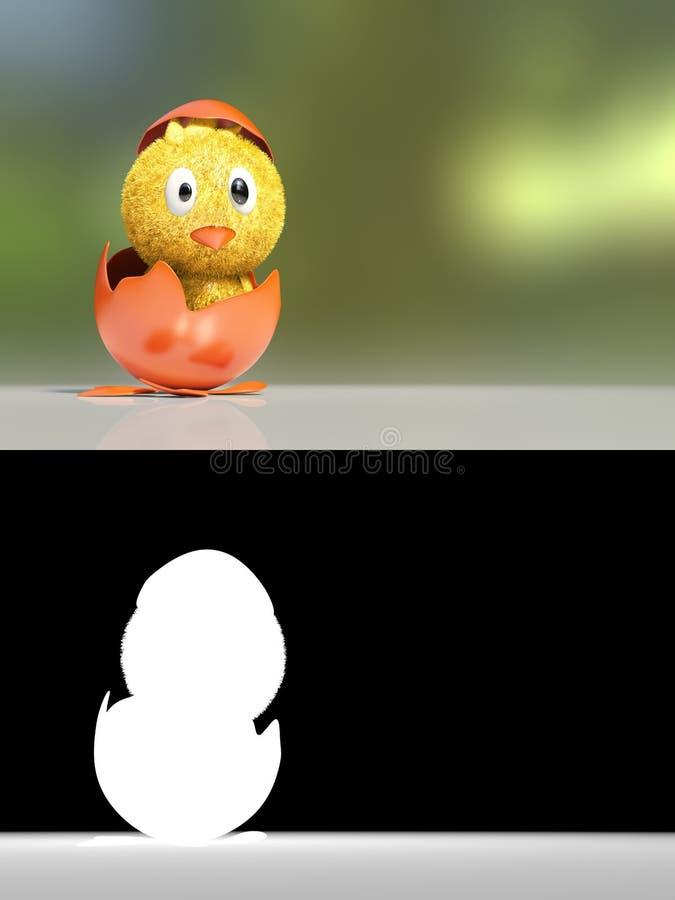 desenhos animados da rendição 3d do pintainho pequeno chocado bonito com rachado ilustração royalty free