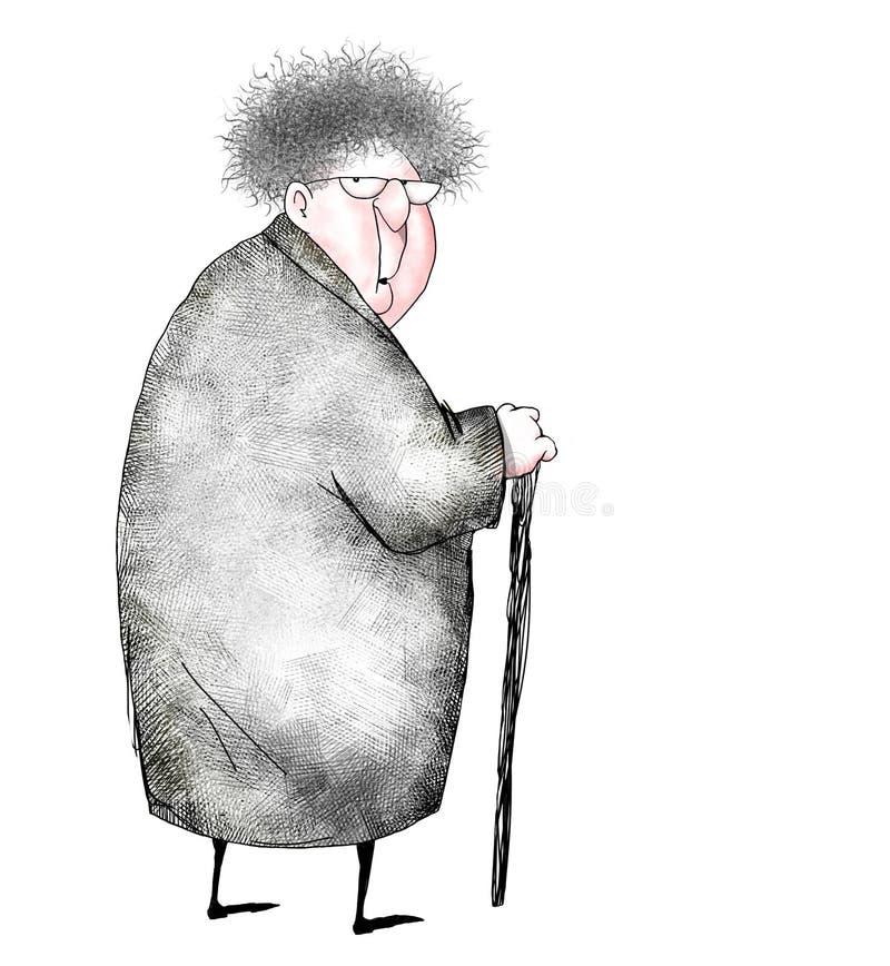 Desenhos animados da senhora idosa surpreendida ilustração do vetor