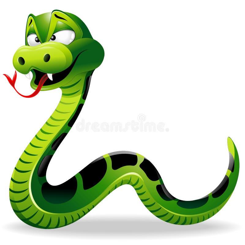Desenhos animados da serpente verde ilustração do vetor
