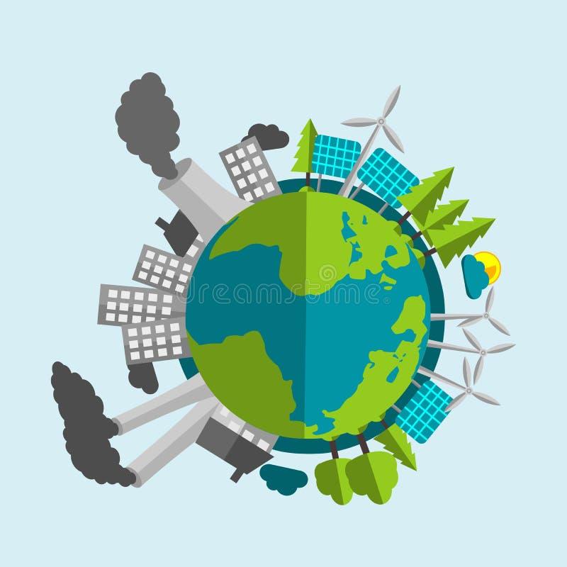 Desenhos animados da terra do planeta - metade enchida com as fontes de energia e a natureza renováveis - metade com indústria e  ilustração stock