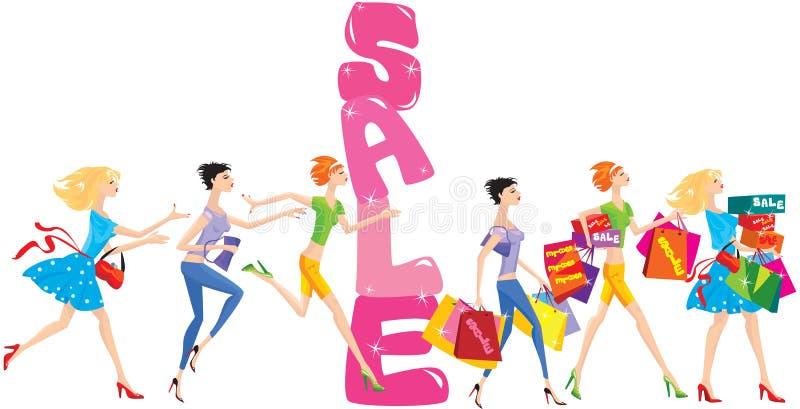 Desenhos animados da venda com grupo de meninas engraçadas ilustração stock