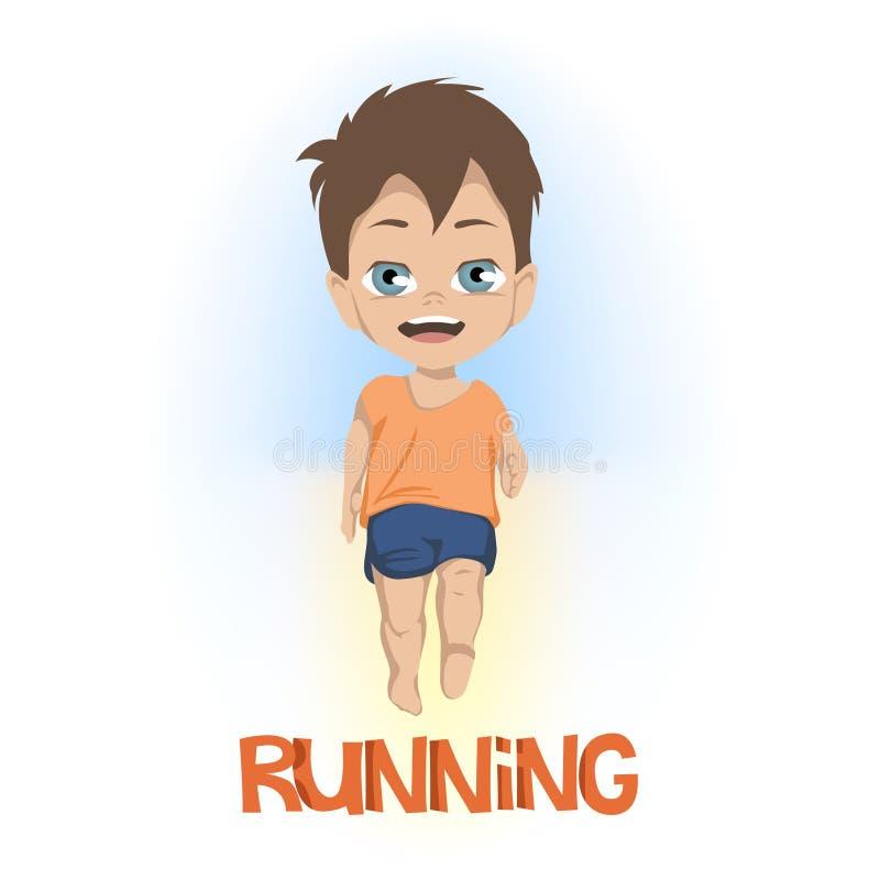 Desenhos animados da vista dianteira no rapaz pequeno no short e no t-shirt que corre acima do CORREDOR no texto alaranjado sobre ilustração do vetor