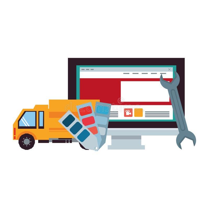 Desenhos animados da Web da tecnologia do apoio da manutenção ilustração do vetor