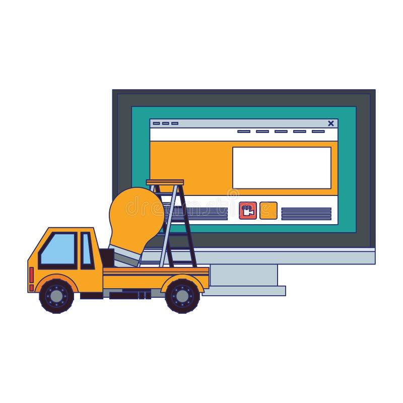 Desenhos animados da Web da tecnologia do apoio da manutenção ilustração stock