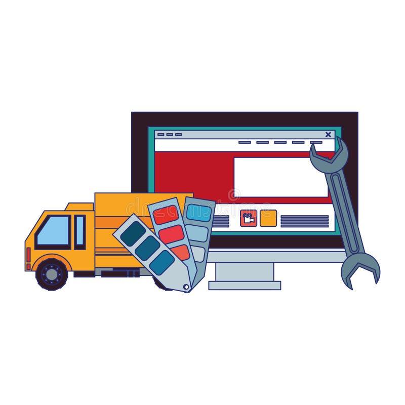 Desenhos animados da Web da tecnologia do apoio da manutenção ilustração royalty free