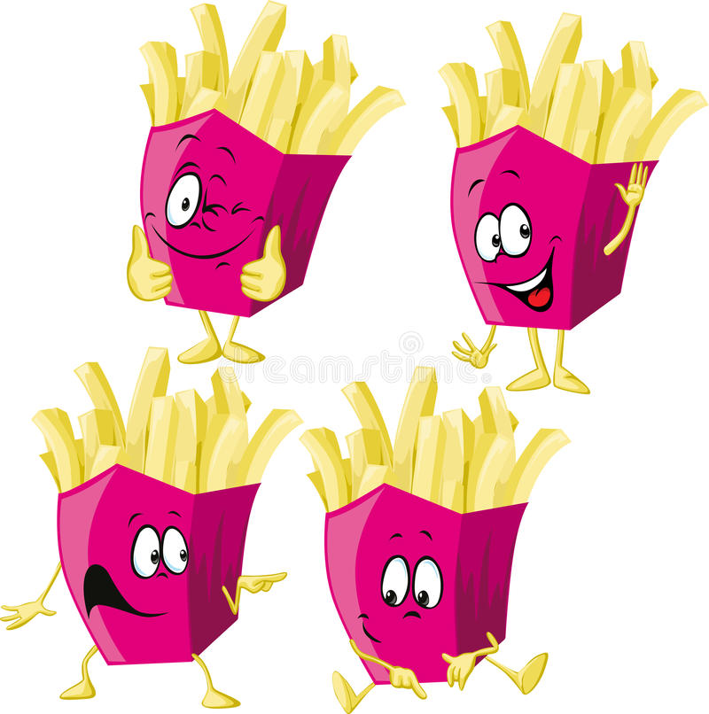 Desenhos animados das batatas fritas com gesticular da mão isolado ilustração royalty free