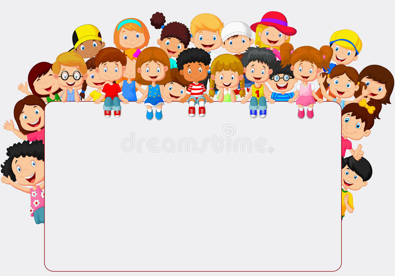Desenhos animados das crianças da multidão com sinal vazio ilustração stock