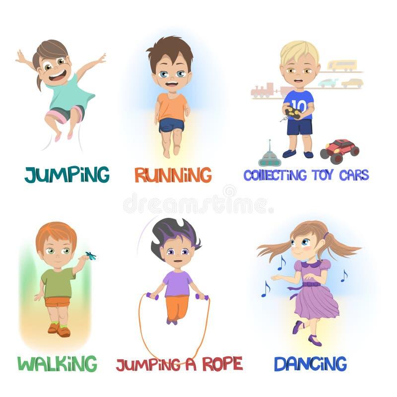 Desenhos animados das crianças que fazem atividades diferentes do divertimento ilustração do vetor