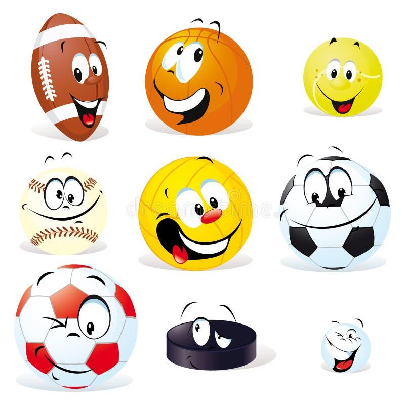 Desenhos animados das esferas do esporte ilustração royalty free