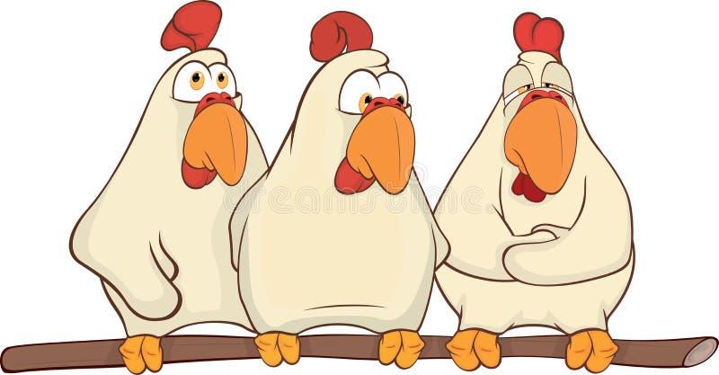 Desenhos animados das galinhas ilustração royalty free