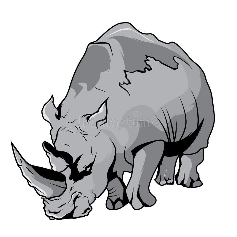 Desenhos animados de alta qualidade do vetor do rinoceronte ilustração royalty free