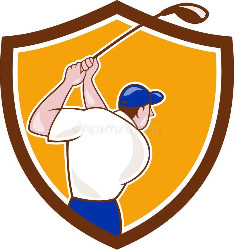 Desenhos animados de balanço da crista do clube do jogador de golfe ilustração stock