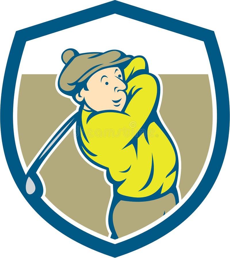 Desenhos animados de balanço do protetor do clube do jogador de golfe ilustração royalty free