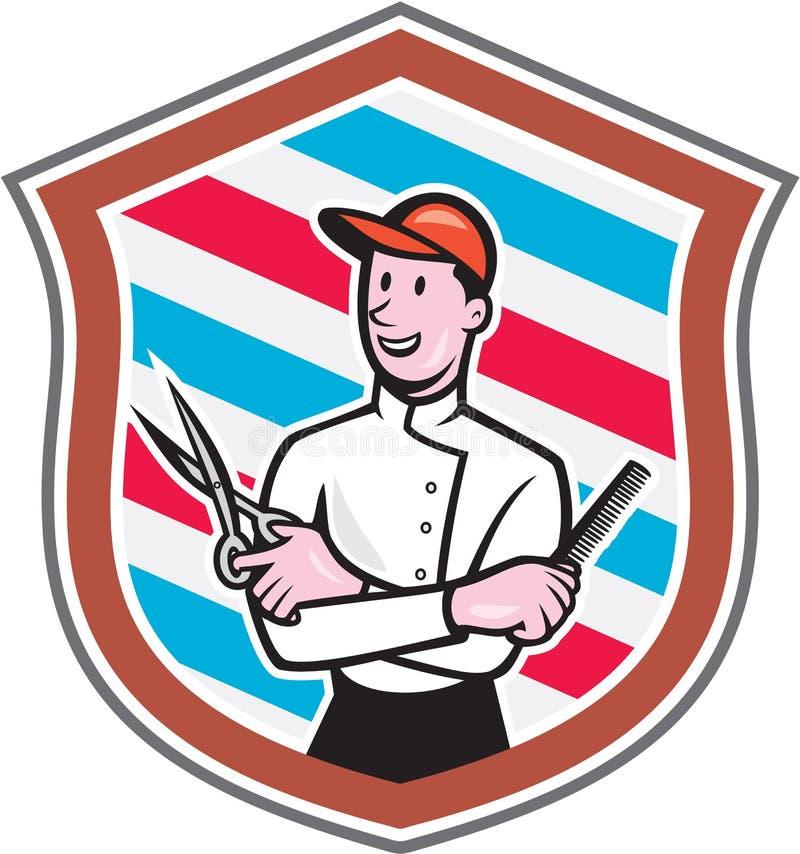 Desenhos animados de Barber Holding Scissors Comb Shield ilustração do vetor