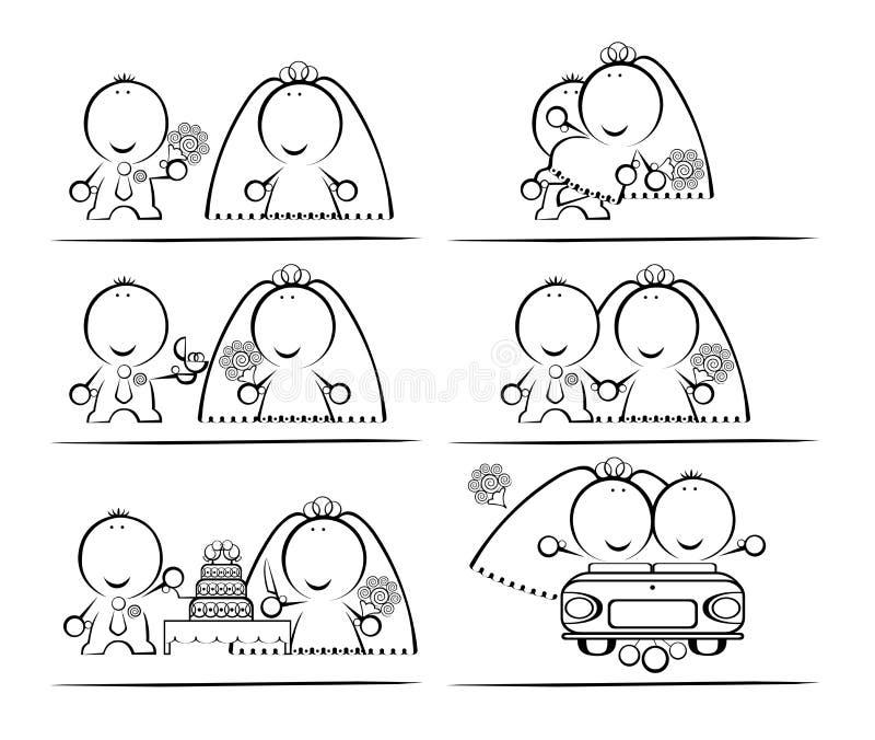 desenhos animados de Casamento-dia ilustração stock