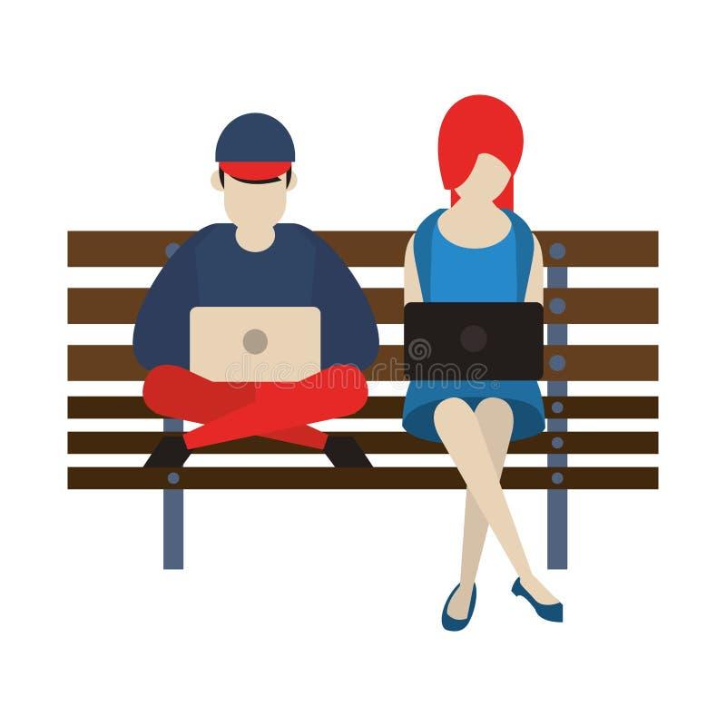 Desenhos animados de conversa da rede social dos meios ilustração royalty free