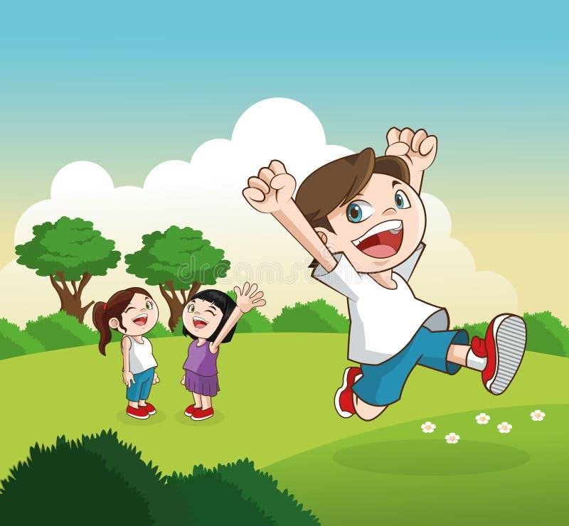 Desenhos animados de crianças felizes, ilustração do vetor ilustração royalty free
