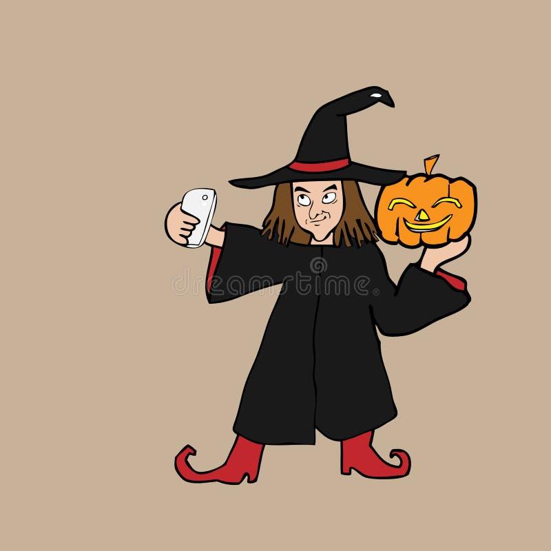 Desenhos animados de Dia das Bruxas da bruxa de Selfie ilustração stock
