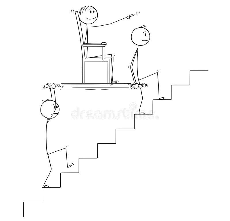 Desenhos animados de dois homens ou homens de negócios que levam o chefe ou o gerente Upstairs na cadeira da maca ou de sedan ilustração do vetor