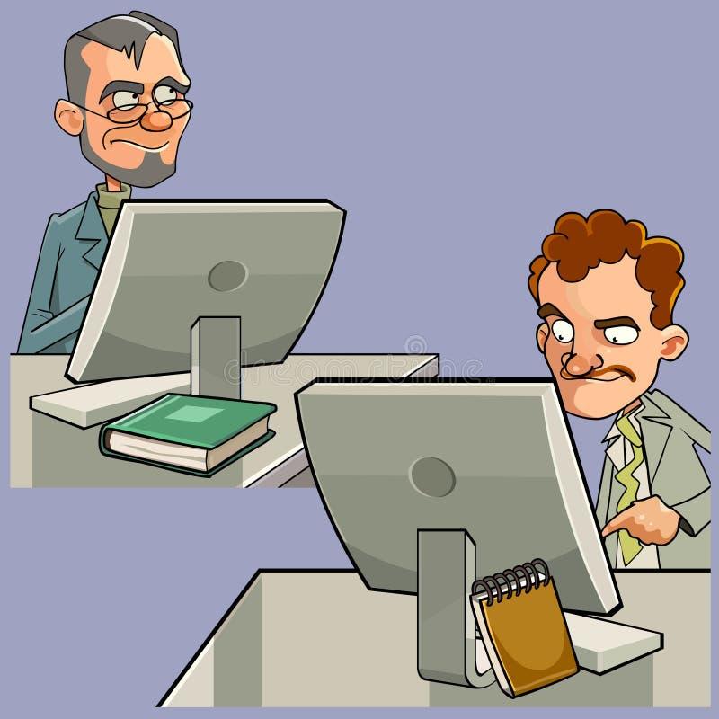 Desenhos animados de dois homens que sentam-se em tabelas de trabalho do computador ilustração royalty free
