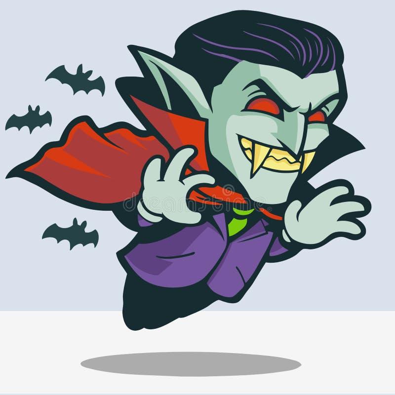 Desenhos animados de Dracula do voo ilustração do vetor