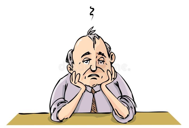 Desenhos animados de escritório deprimido ilustração stock