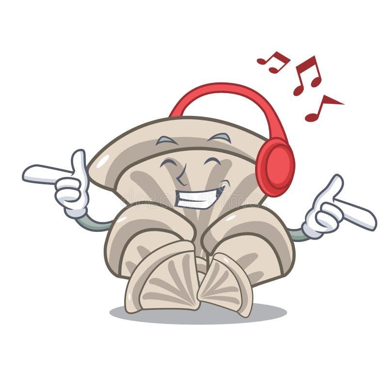 Desenhos animados de escuta da mascote do cogumelo de ostra da música ilustração stock