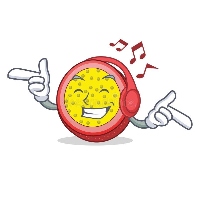 Desenhos animados de escuta da mascote do fruto de paixão da música ilustração stock
