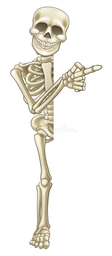 Desenhos animados de esqueleto que apontam no sinal ilustração royalty free