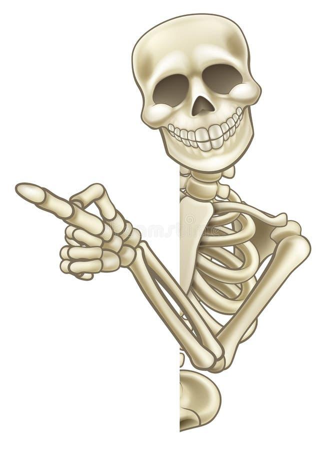 Desenhos animados de esqueleto que espreitam em volta do sinal e de apontar ilustração do vetor