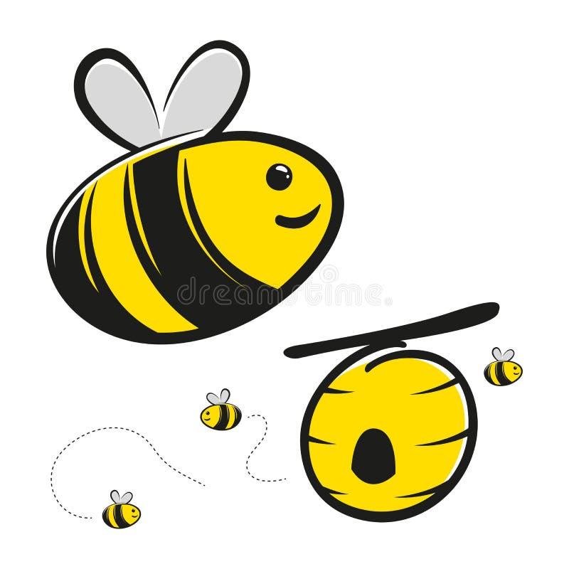 Desenhos animados de Honey Bee And Bee Hive ilustração do vetor
