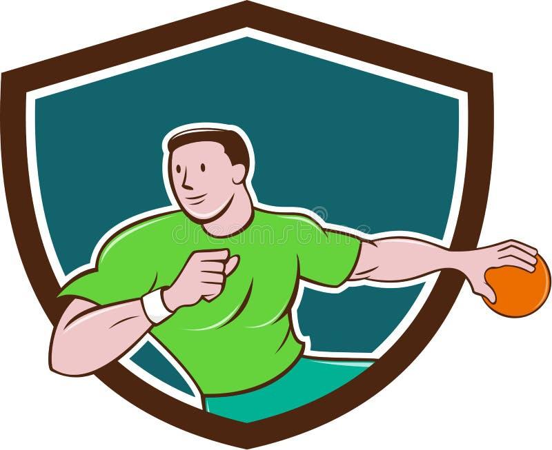 Desenhos animados de jogo da crista da bola do jogador do handball ilustração stock