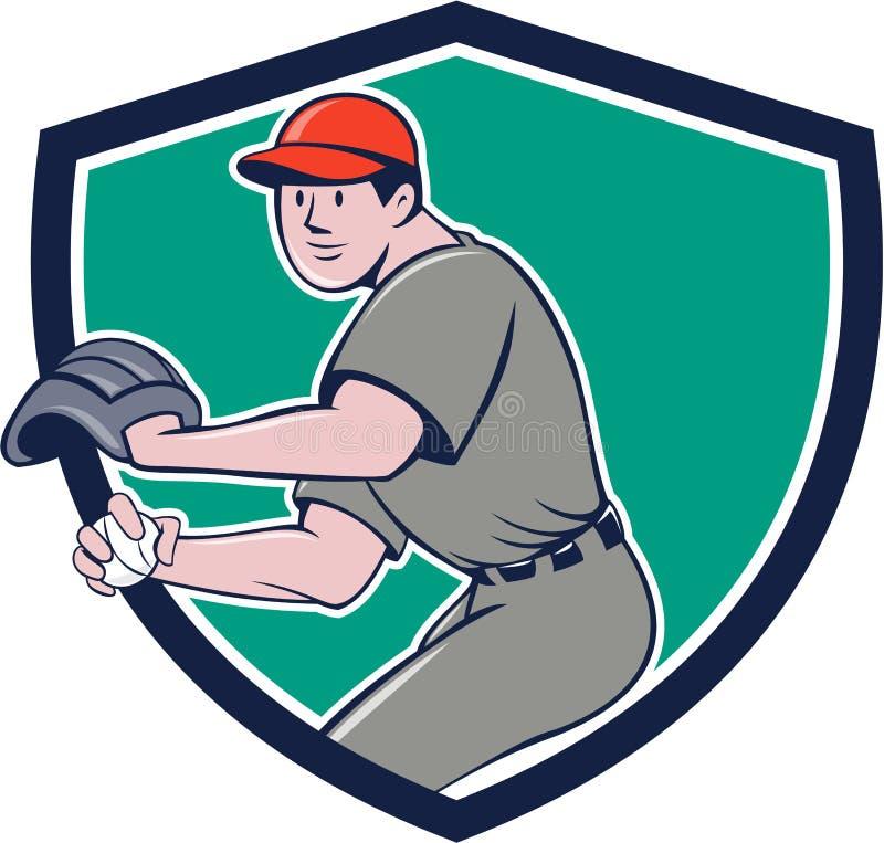 Desenhos animados de jogo da crista da bola do outfielder do jogador de beisebol ilustração do vetor