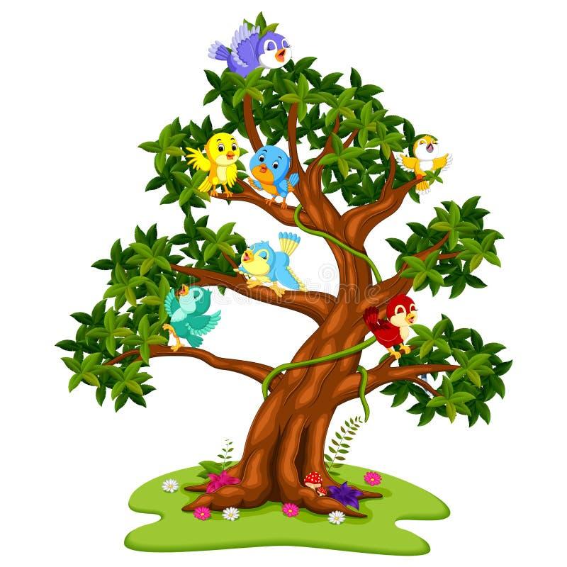 Desenhos animados de muitos pássaros nas árvores ilustração stock