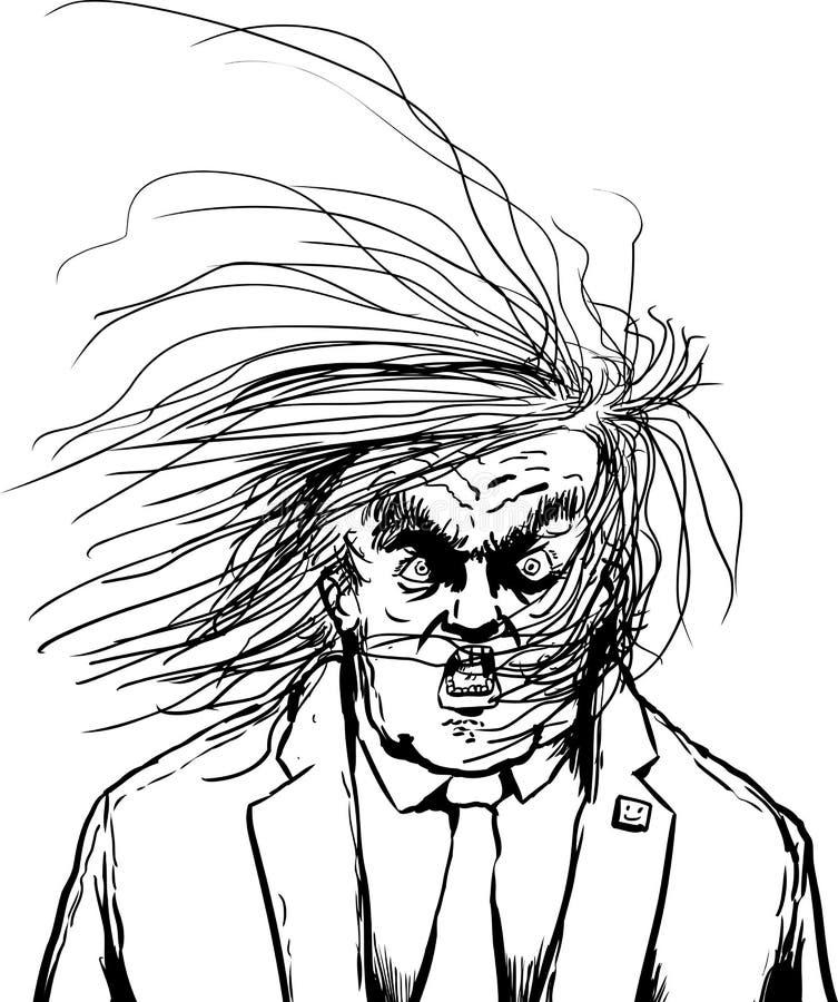 Desenhos animados de Outine do cabelo que fundem em face de Donald Trump ilustração do vetor