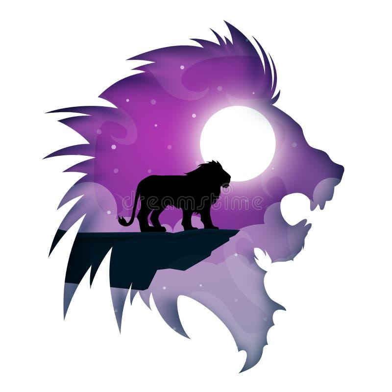 Desenhos animados de papel do leão Paisagem da noite ilustração stock
