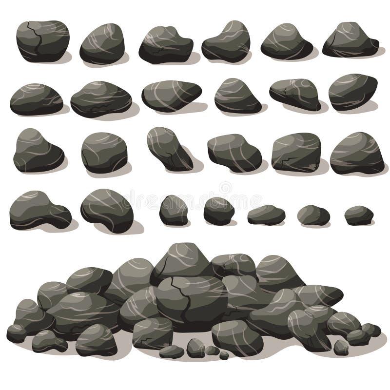 Desenhos animados de pedra da rocha no estilo liso isométrico Grupo de diferente ilustração do vetor