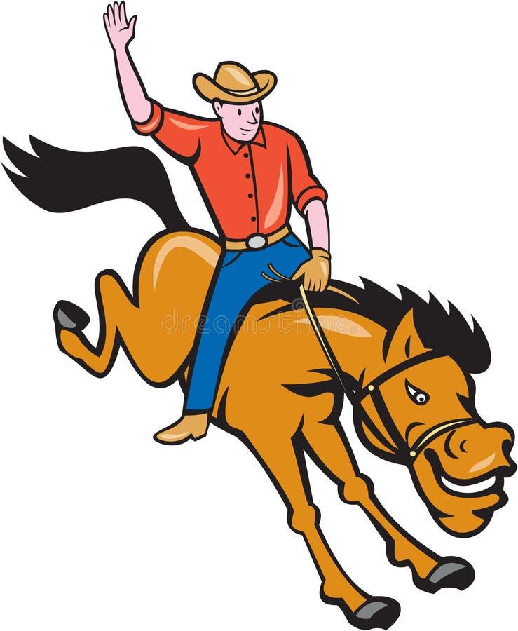 Desenhos animados de Riding Bucking Bronco do vaqueiro do rodeio ilustração stock