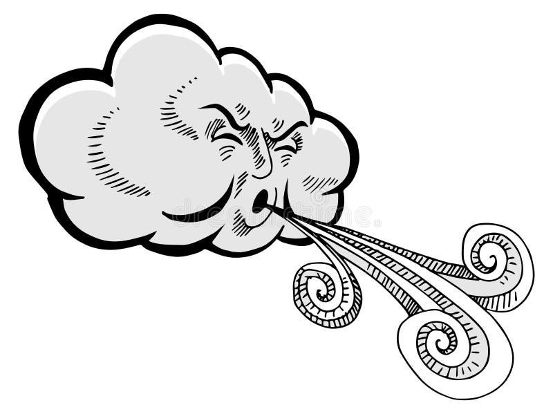Desenhos animados de sopro do desenho do vento da nuvem ilustração stock