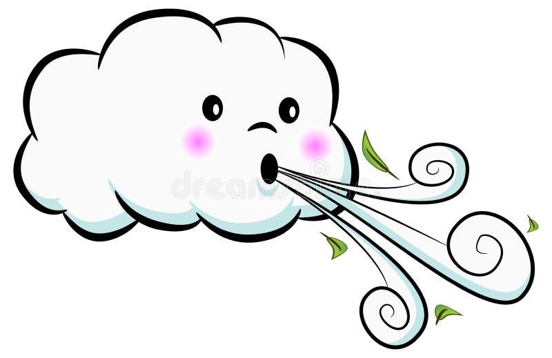 Desenhos animados de sopro do vento da nuvem bonito ilustração stock