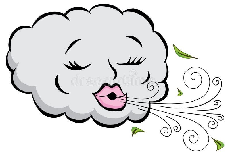 Desenhos animados de sopro do vento da nuvem da menina ilustração do vetor