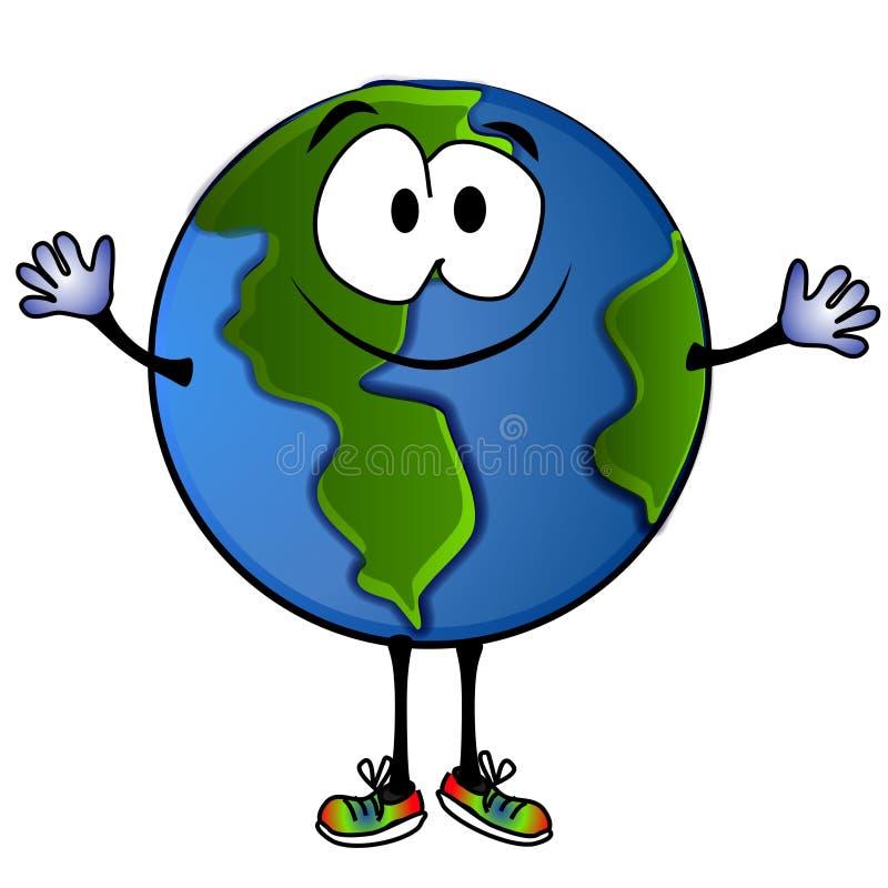 Desenhos animados de sorriso 2 da terra do planeta ilustração stock